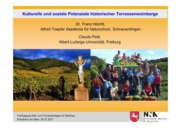 Kulturelle und soziale Potenziale historischer Terrassenweinberge