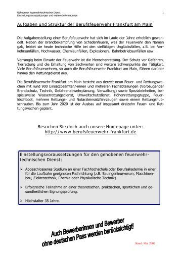 aufgaben und struktur der berufsfeuerwehr frankfurt am main - Bewerbung Berufsfeuerwehr