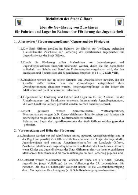 Richtlinien der Stadt Gifhorn über die Förderung der