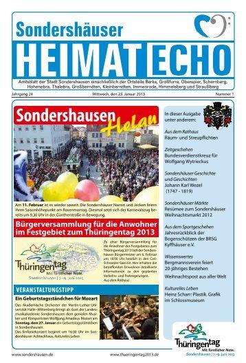 Ausgabe 01/2013 vom Mittwoch, dem 23. Januar - Sondershausen