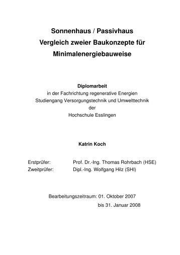 Sonnenhaus / Passivhaus Vergleich zweier Baukonzepte für ...
