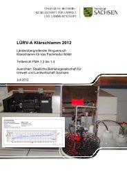Auswertung LÜRV-A Klärschlamm 2012-Anorganik, BfUL Sachsen