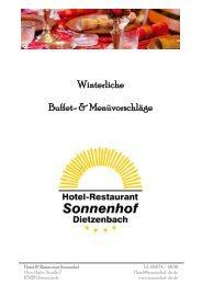Winterliche Buffet- & Menüvorschläge - Hotel-Restaurant Sonnenhof ...