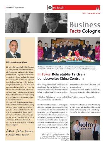 Business Facts Cologne Nr. 2/Dezember 2007 [ PDF - Stadt Köln
