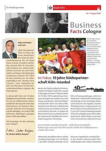 Business Facts Cologne Nr. 1/August 2007 [ PDF - Stadt Köln
