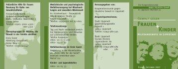 Gewalt gegen Frauen und Kinder - Hilfsangebote in - Lippstadt