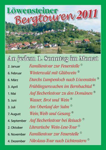 Löwensteiner Bergtouren 2011.indd - Stadt Löwenstein