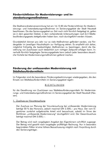 Modernisierungs- Instandsetzungsmaßnahmen - Stadt Neustadt
