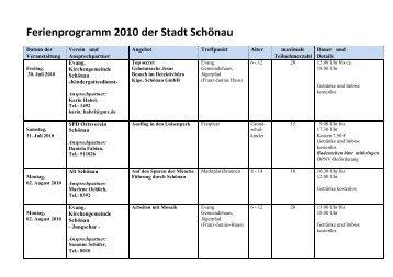 Ferienprogramm 2010 der Stadt Schönau