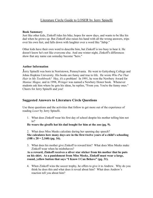 Literature Circle Guide To LOSER By Jerry Spinelli