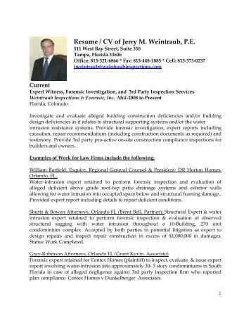 Resu Resume / CV of Jerry M. Weintraub, P.E.