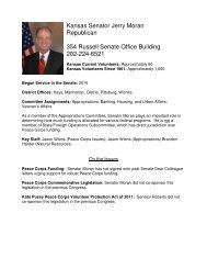 Kansas Senator Jerry Moran Republican 354 Russell Senate Office ...