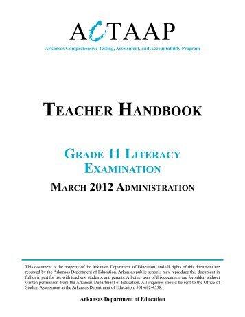 Teacher Handbook - Arkansas Department of Education
