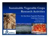Organic Vegetable Research at Utah State University