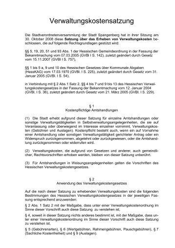 Verwaltungskostensatzung - Spangenberg