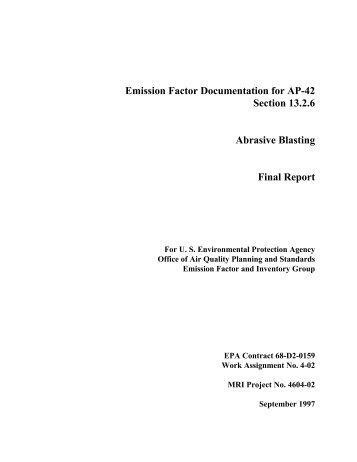 AP-42 Background Document: section 13.2.6 Abrasive blasting ...