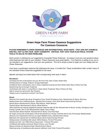 Green Hope Farm Flower Essence Suggestions For Common ...