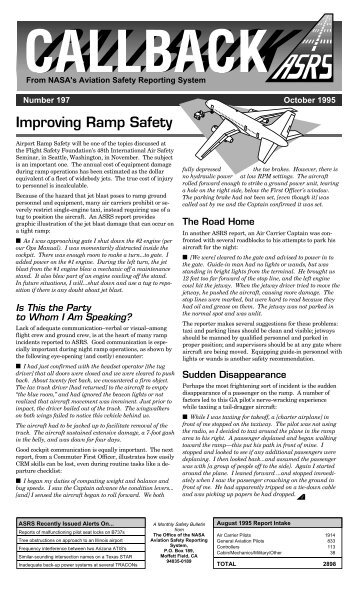 ASRS CALLBACK Issue 197 - October 1995 - Aviation Safety ...