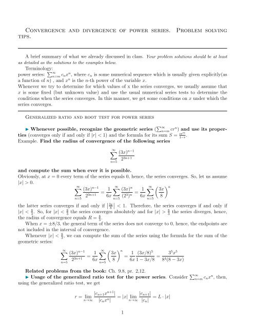 Convergence and divergence of power series  Problem solving
