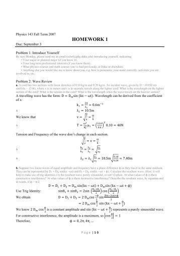 Homework 1 solutions - Duke Physics