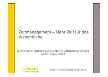 Workshop Zeitmanagement, Unternehmertreffen