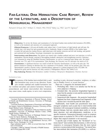 FAR-LATERAL DISK HERNIATION: CASE REPORT, REVIEW OF ...