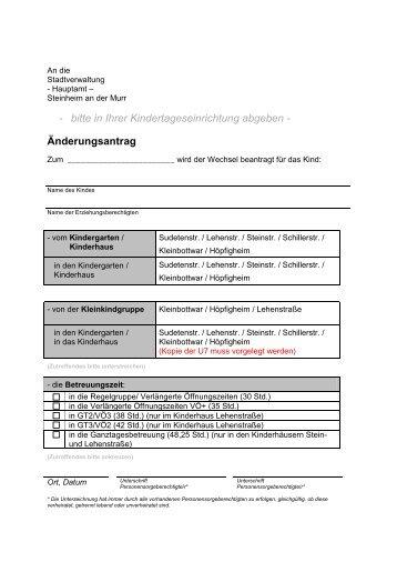 Vordruck Änderungsantrag - Stadt Steinheim an der Murr