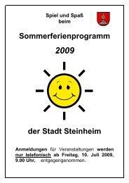 Sommerferienprogramm 2009.pdf - Stadt Steinheim an der Murr