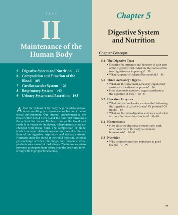 Chapter 5 Maintenance of the Human Body
