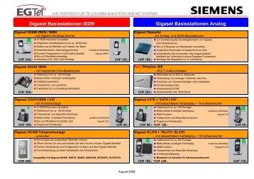 Gigaset Basisstationen ISDN Gigaset Basisstationen ... - MSP-Basel