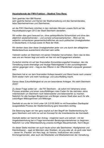 Haushaltsrede FWV.pdf - Stadt Steinheim an der Murr