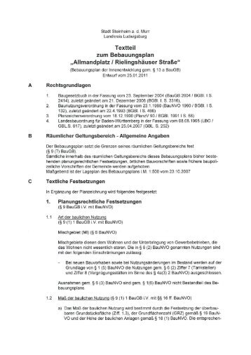 Textteil zum Bebauungsplan - Stadt Steinheim an der Murr