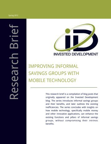 Improving Informal Savings Groups with Mobile Technology