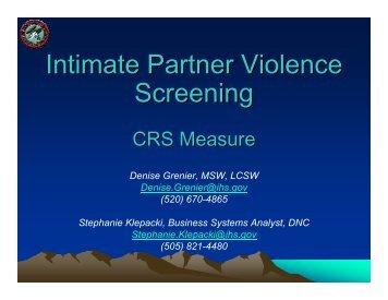 Intimate Partner Violence Screening - Indian Health Service