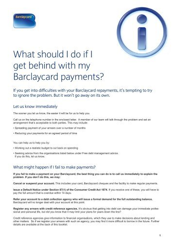 What should I do if I get behind with my Barclaycard payments?