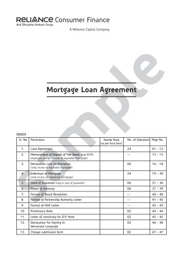 Reverse Mortgage Loan Agreement - Axis Bank