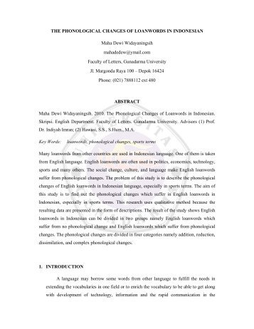 THE PHONOLOGICAL CHANGES OF LOANWORDS IN ...