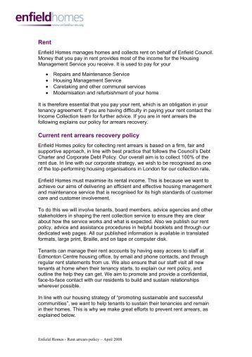 rent supplement a social policy report jointly threshold  our rent arrears policy enfield homes