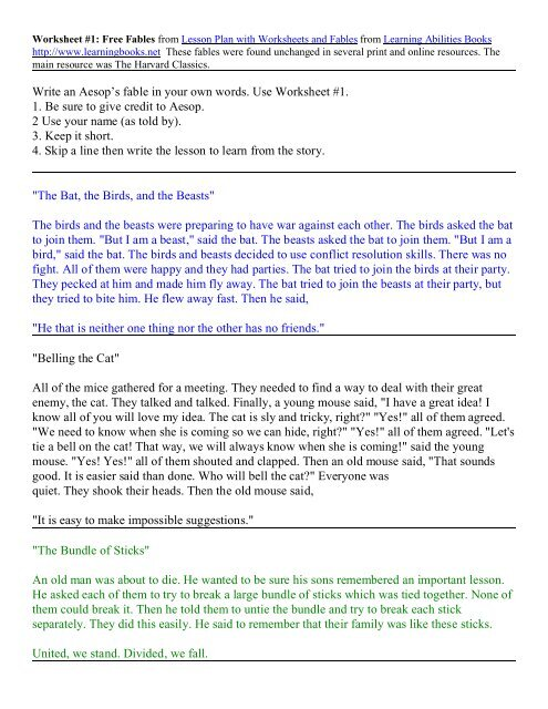 Write An Aesop 39 S Fable In Your Own Words Use Worksheet 1