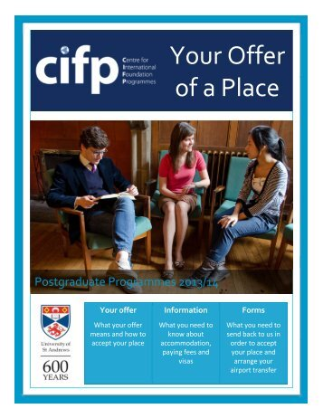 Your Offer of a Place - University of St Andrews