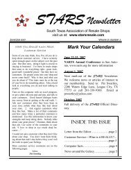 June/July 2007 Issue - STARS - South Texas Association of Resale ...