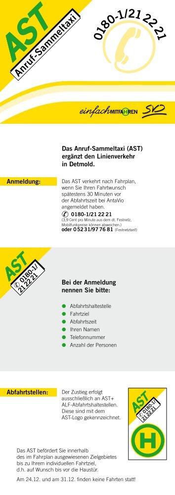 Fahrplan Anruf-Sammeltaxi - Stadtverkehr Detmold GmbH