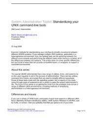 System Administration Toolkit: Standardizing your UNIX ... - IBM