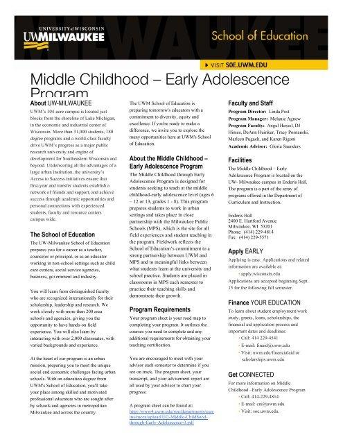 Uwm Financial Aid >> Middle Childhood Early Adolescence Program Uw Milwaukee