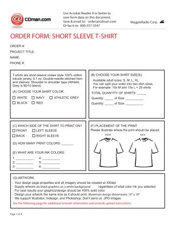 SUBLIMATED SHORT ORDER FORM - Brute on mayo clinic chemotherapy order forms, rosary order forms, check order forms,