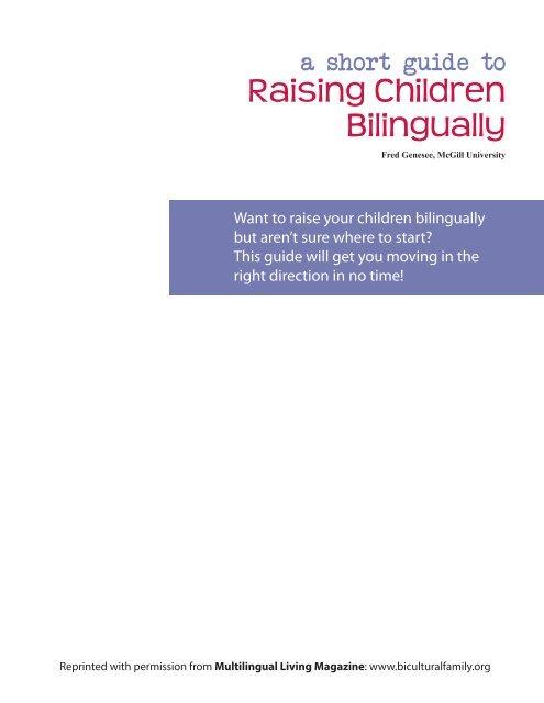 A Short Guide to Raising Children Bilingually - McGill University