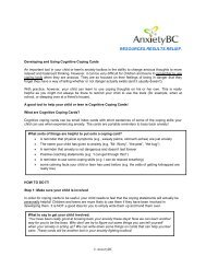 Developing and Using Coping Cards - AnxietyBC