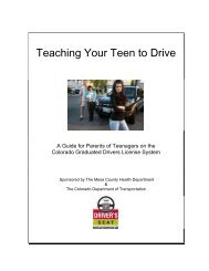 Teaching Your Teen To Drive - Colorado Department of Transportation