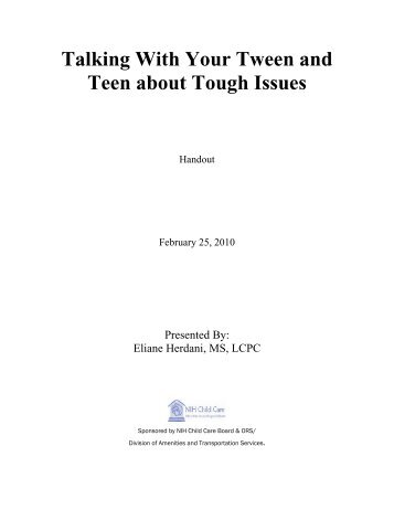 Talking With Your Tween and Teen about Tough Issues
