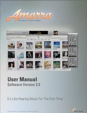 Amarra 2.5 User Manual - Sonic Studio